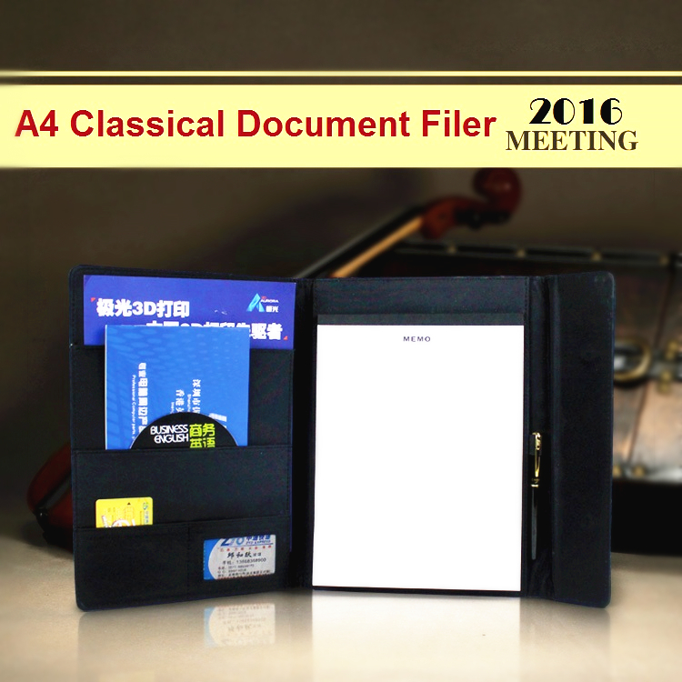 A4 classical fabric leather manager folder document file holder with pen card holder zipper bag magnetic snap