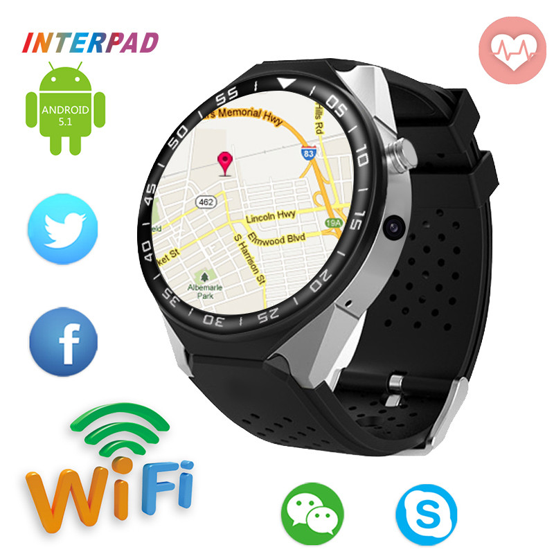 2018 Interpad 2GB RAM 16GB ROM MTK6580 Smart Watch 3G GPS WIFI Smartwatch Android 5.1 Heart Rate Tracker For iOS Android Clock crcular shape no 1 d5 android 4 4 bluetooth gps smart watch with heart rate monitor google play gps 4g rom 512m ram smartwatch