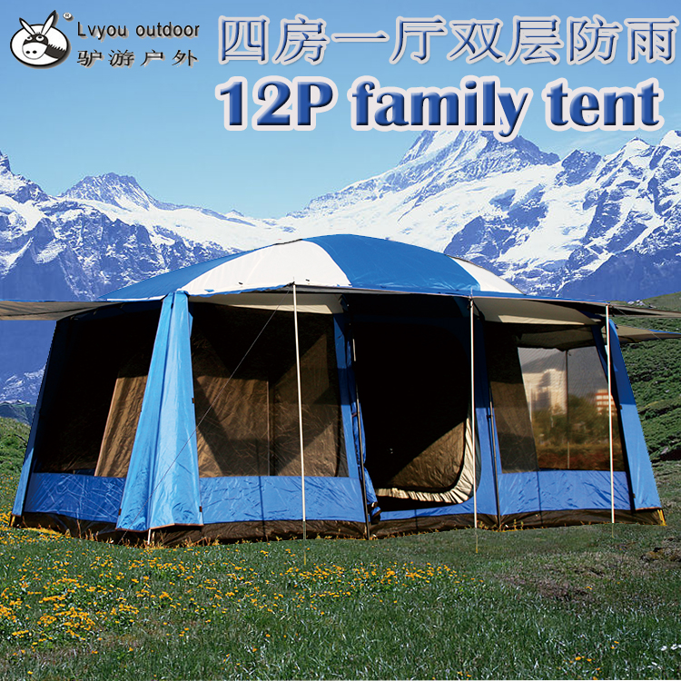 2017 New arrival super large 4room 1room UV waterproof outdoor silver coated 12-14persons use camping party family tent outdoor double layer 10 14 persons camping holiday arbor tent sun canopy canopy tent