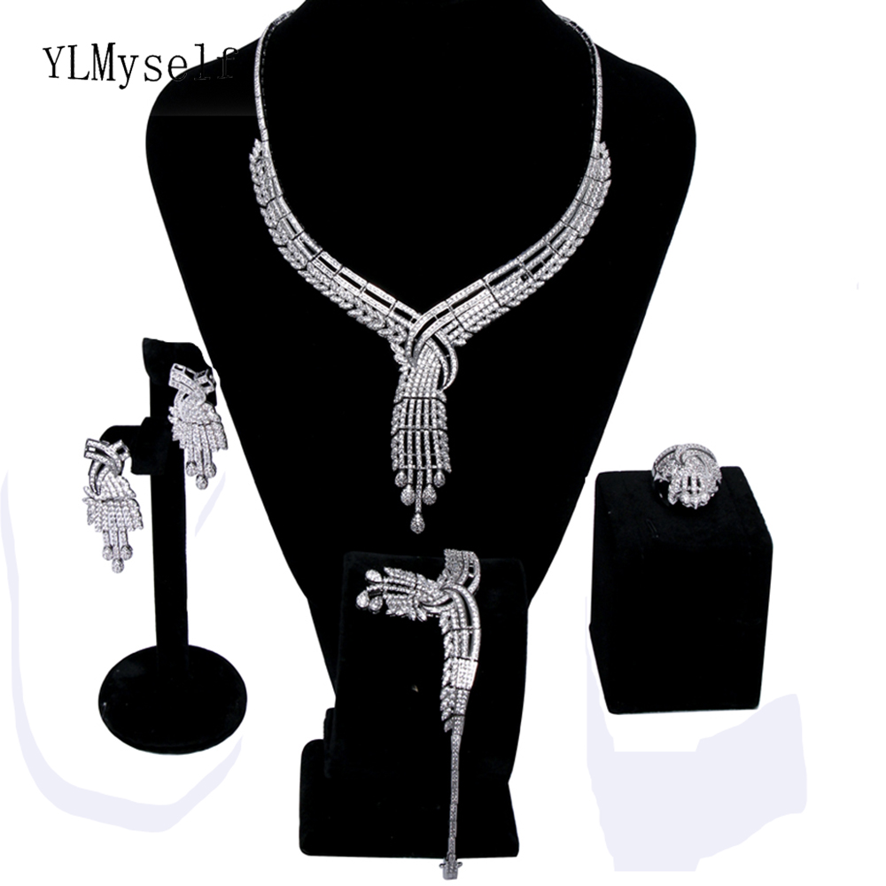 Long big necklace 4pcs sets for party Micro pave CZ crystal Necklace+Bracelet+earrings+gift ring large beautiful jewelry set