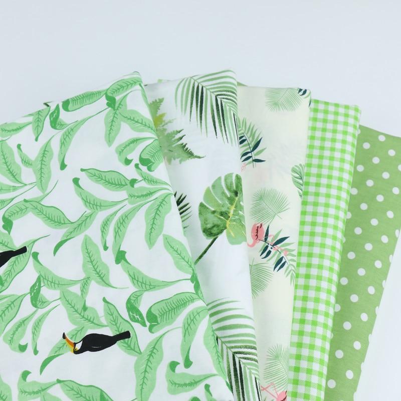 Зеленый цветочный сетки Dot печати хлопок ткань для DIY лоскутное подбивочная ткань тряпка для домашней работы Вышивание Детские простыни платье Домашний текстиль