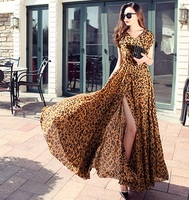 Sexy Chiffon Floor Length Long Dress Sexy V Neck Front Slit Bohemian Dresses Leopard Print New