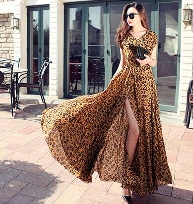 Sexy mousseline de soie étage longueur longue robe sexy col en v avant fente bohème robes imprimé léopard nouveau 2017 été