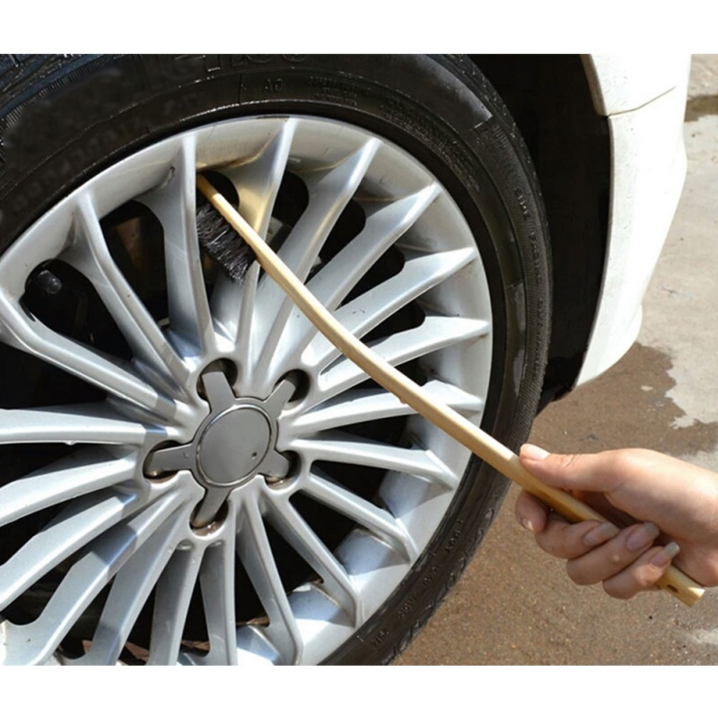 Auto Engine Cleaning Brush Car Rim Wheel Tire Cleaning Multi-function Bamboo Handle Mane Brushes Car Wash Cleaning 40CM Out Bend