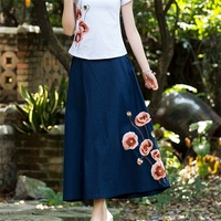 2018 Rushed Hot Sale Linen Spring And Summer Autumn Trend Women S National Skirt Embroidery Vintage