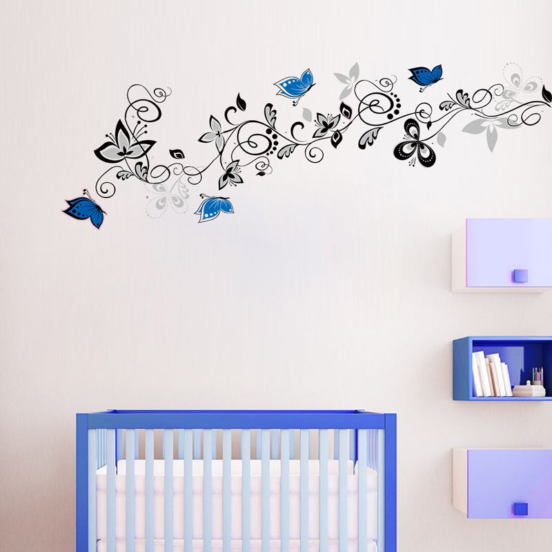 Creative Flower Vine Butterflies Wall Sticker For Home Decor Waterproof DIY Background Decoration Wallpaper Art Decals Stickers