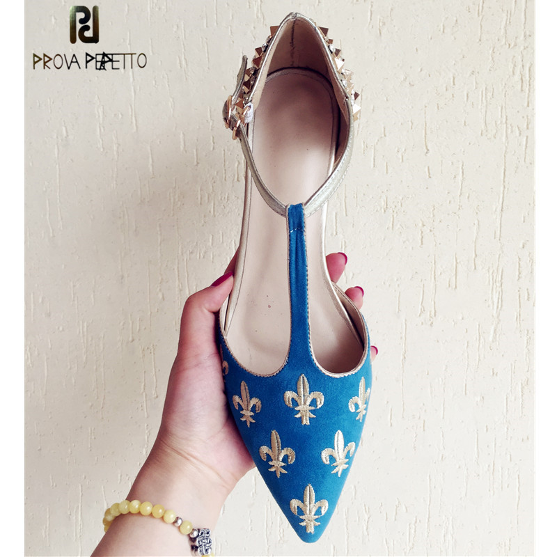 Prova Perfetto Brand Shoes Woman Embroidered Pointed Toe Shoes T Strap Buckle Flat Ladies Shoes Fashion Rivet Gladiator Shoes