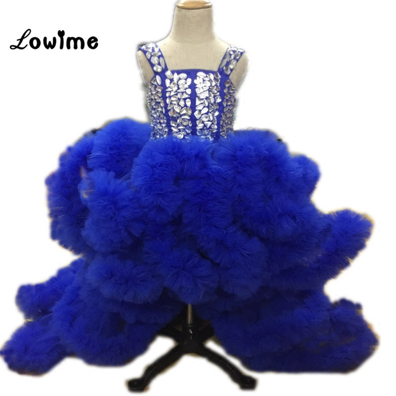 Royal Blue Ball Gown   Flower     Girl     Dresses   Comunion Puffy   Girls     Dresses   2018 Communion   Dresses   Vestido De Daminha Custom Made