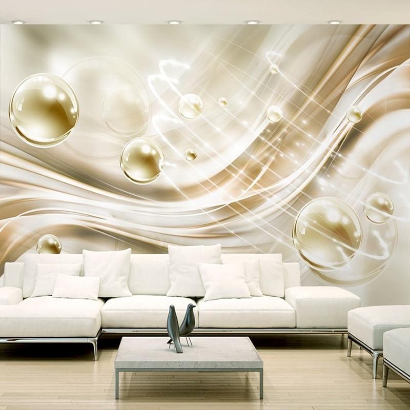 Custom Foto Tapete 3D Goldene Kreis Ball Streifen Moderne Europäischen Stil Schlafzimmer  Wohnzimmer TV Hintergrund Wandbild Wand Malerei