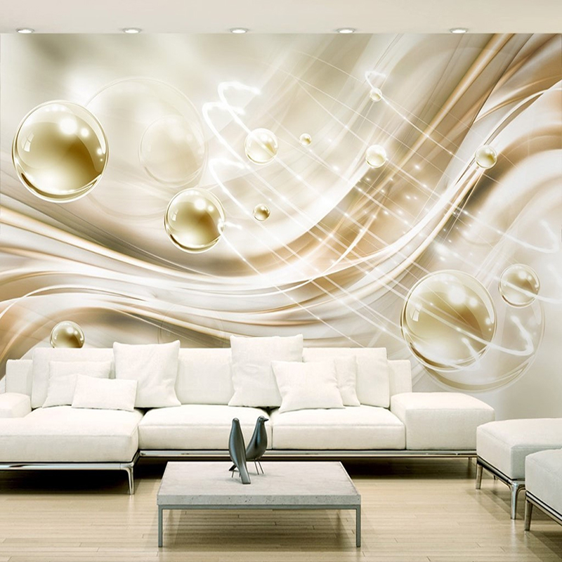Custom Photo Wallpaper 3D Golden Circle Ball Stripes Modern European Style Bedroom Living Room TV Background Mural Wall Painting beibehang golden fountain fair 3d photo wallpaper mural living room bedroom corridor tv background wallpaper for walls 3 d