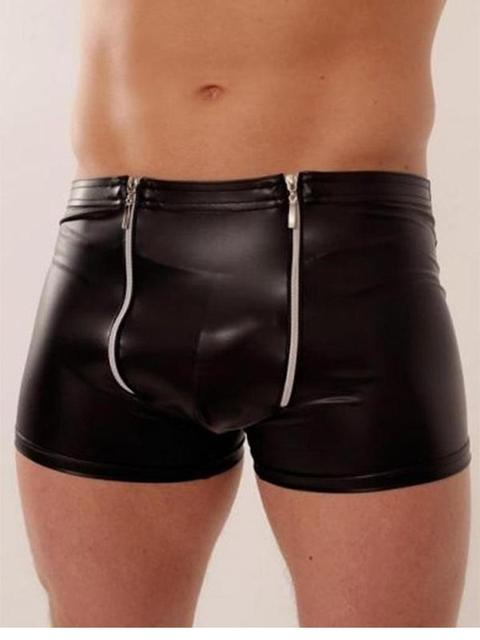 Moda Boxeadores de Los Hombres Pantalones de Cuero Negro Vinilo Lingeire M, L, XL W850545