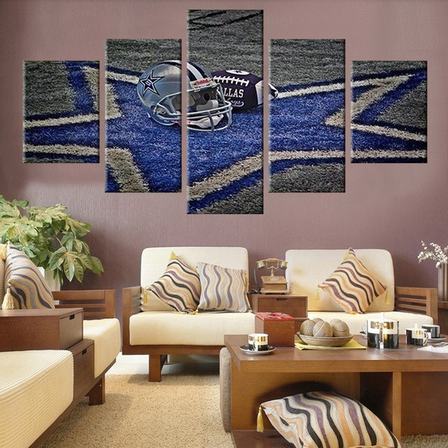 5 Panel Dallas Cowboys Canvas Prints Painting Wall Art Nfl: 5 Panel Large HD Printed Painting Dallas Cowboys Canvas