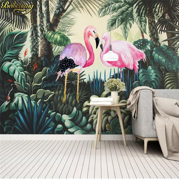 beibehang european palm tree papel de parede 3d wallpaper for living room tv background wall paper home decor contact paper roll beibehang papel de parede 3d custom Medieval tropical rainforest flamingo Mural Wallpaper For Wall paper Living Room Home Decor