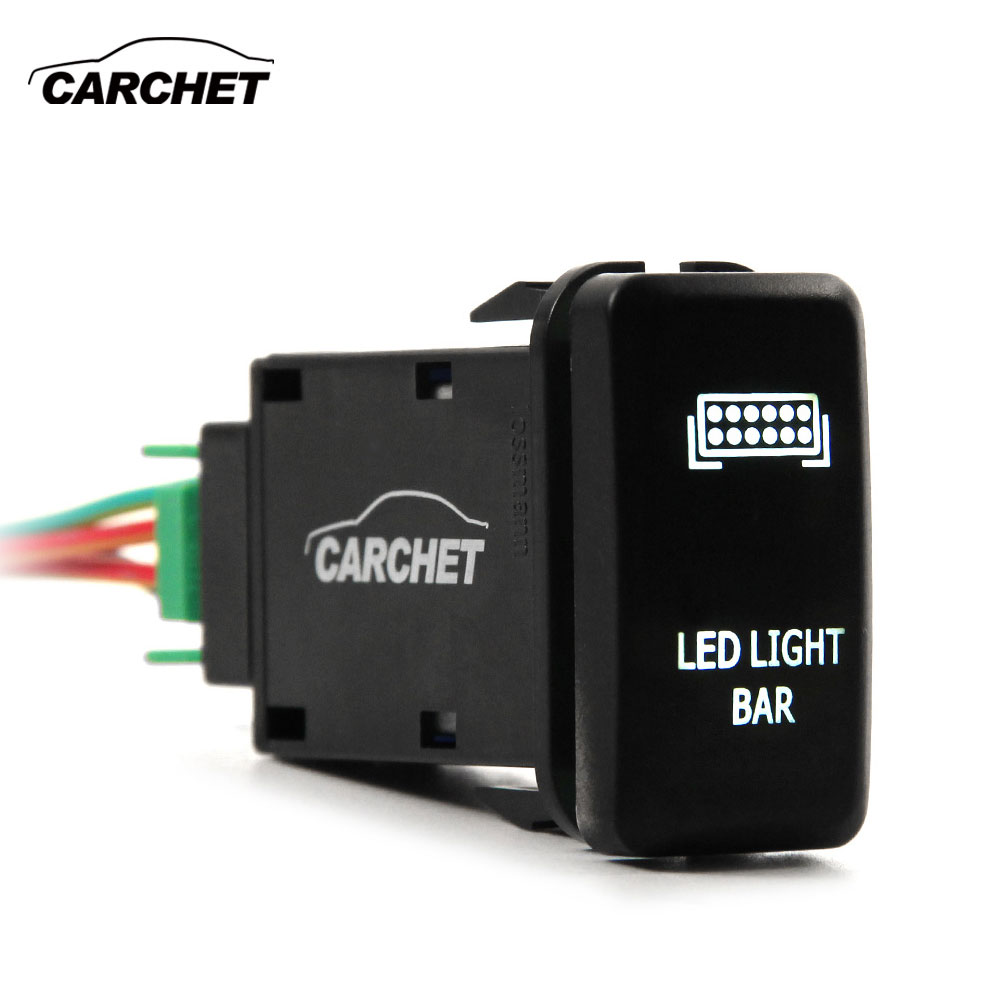 CARCHET Car Switches 12V Push Rear Light LED on-off Switch DC 12V-24V 5V / 4.2A for Toyo ...