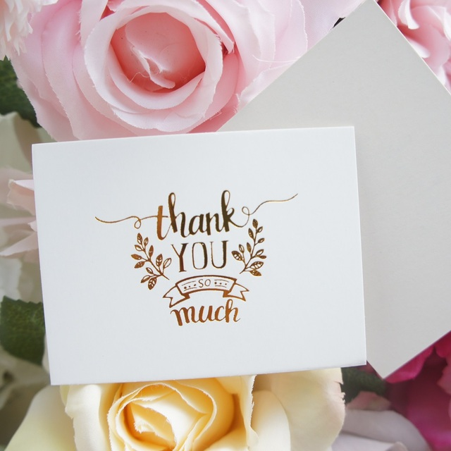 50pcs Mini thank you Card gold simple fashion design leave message