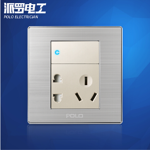 Wholesale POLO Luxury Wall Socket Switch Panel, 1 Gang 5 Hole Wall Outlet,Champagne/Black,Push Button LED Switch,16A,110~250V atlantic brand double tel socket luxury wall telephone outlet acrylic crystal mirror panel electrical jack