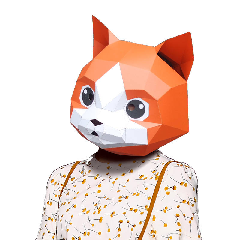Christmas Halloween.Us 9 59 40 Off 3d Paper Mask Fashion Cat Kitten Animal Costume Cosplay Diy Paper Craft Model Mask Christmas Halloween Prom Party Gift In Card Model