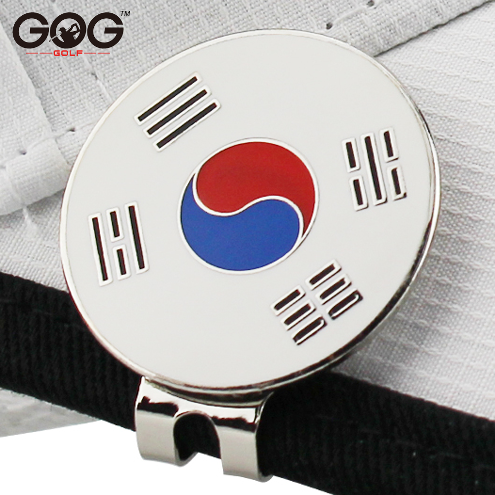 "GOG Golf Ball Mark Korea Flag Golf Cap Clip Golf Ball Marker Alloy Professional 1.18"" 30mm 1pc Free Shipping"