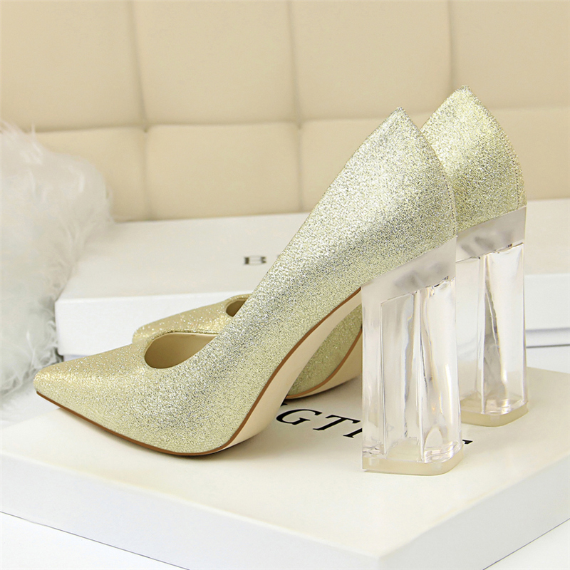 19 Plus Size 43 Women Block 10cm High Heels Lady Scarpins Green Satin Pumps Female Wedding Yellow Blue Silk Transparent Shoes 20