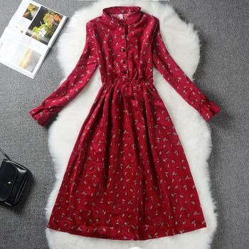 Autumn Winter Women Sweet Corduroy Dress Stand Collar Print Long Sleeve Femininos Vestidos Mori Girl Elegant Loose-Waist Dress 4