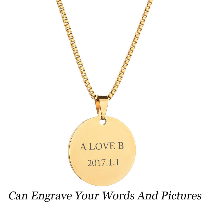 Personalized Large Monogrammed Necklace Disc Necklace Engraved Monogram Necklace