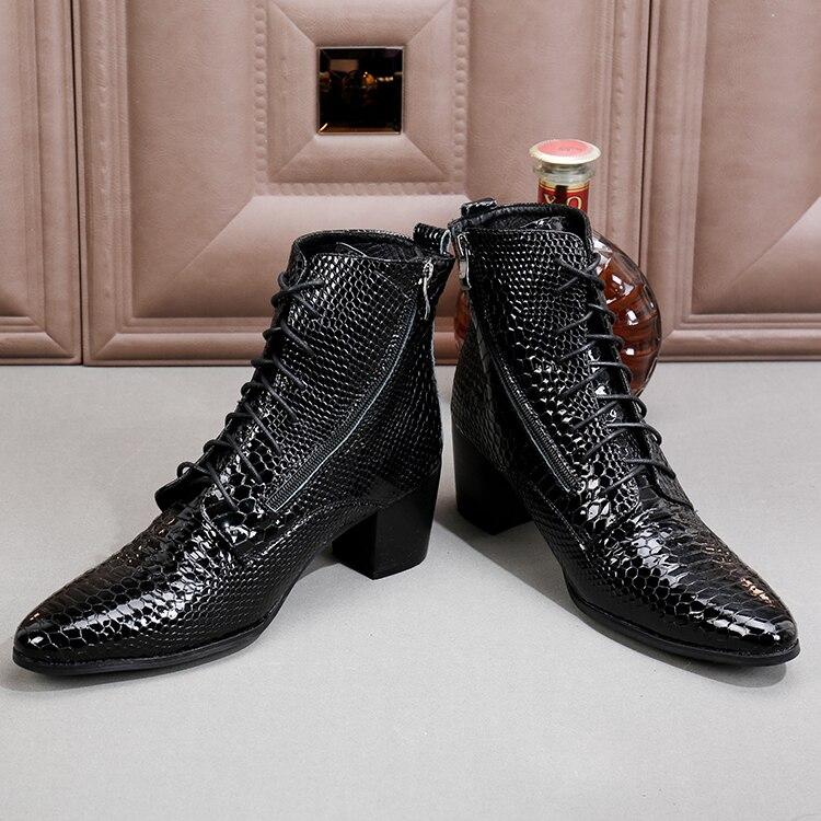 Schuhe Echtes 5 Ankle Ferse Hohe 46 Schwarzes up Zip Hommes Chaussures Business Batzuzhi Party Leder Cm Männer Schwarz 7 Stiefel Spitze Sngwx8Uq