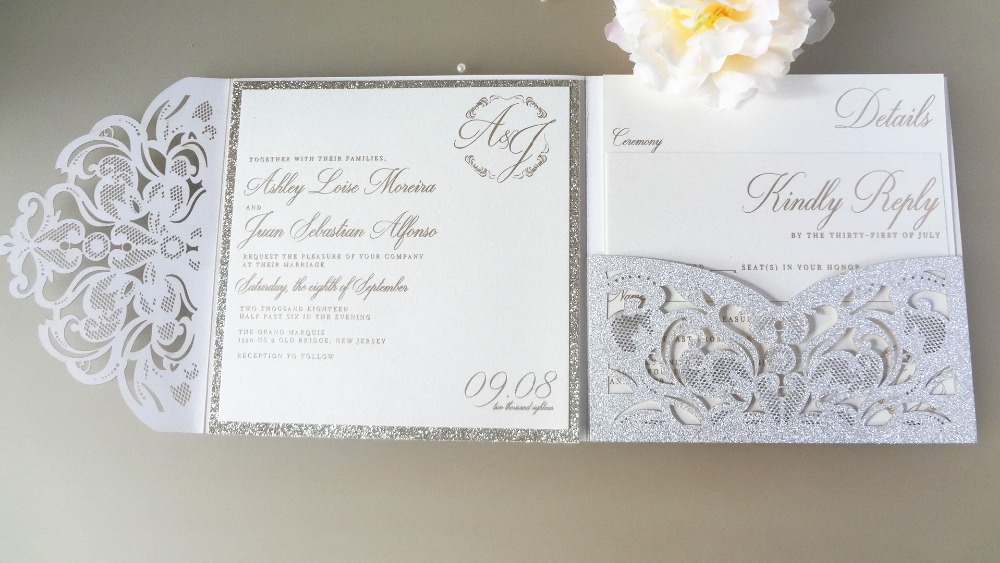 Us 174 24 12 Off 100pcs Silver Glitter Paper Laser Cutting Pocket Wedding Invitation Blank Cards With Envelope Carte De Mariage Lot In