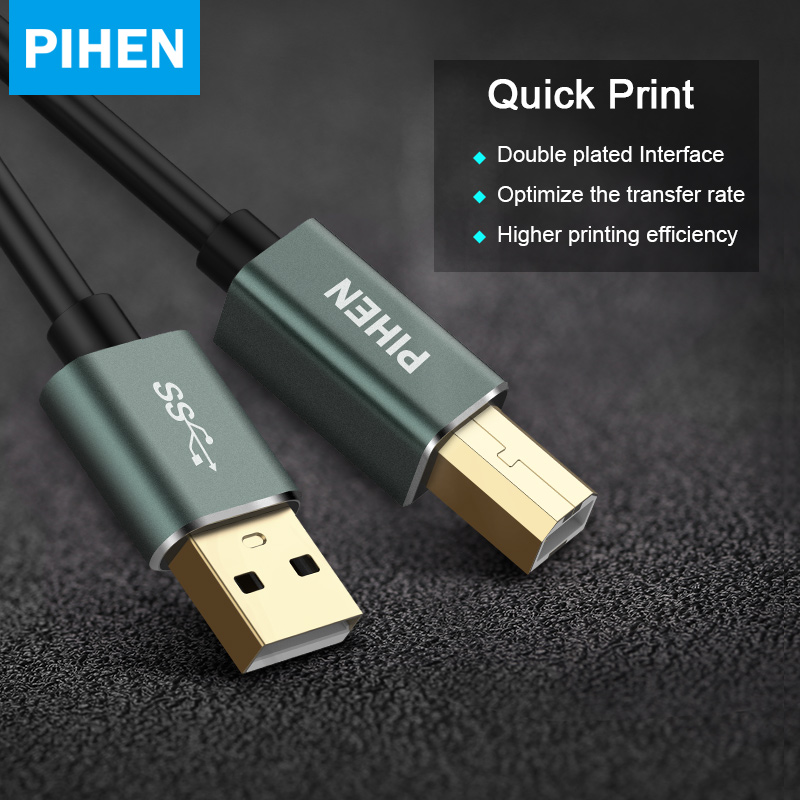PIHEN USB Printer Cable USB Type B Male to A Male USB 3.0 2.0 Cable for Canon Epson HP ZJiang Label Printer DAC USB Printer-in Computer Cables & Connectors from Computer & Office