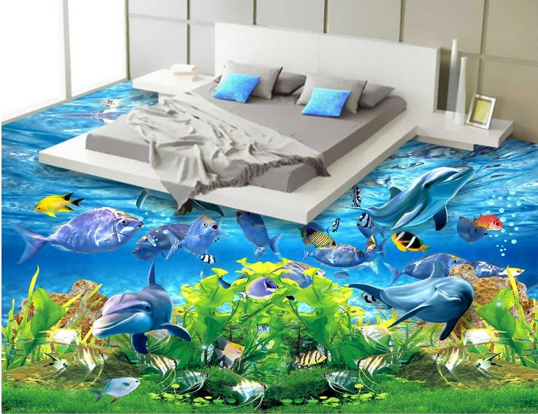ФОТО custom 3d flooring kitchen wallpaper ocean waterproof wallpaper for bathroom 3d floor tiles self adhesive wallpaper