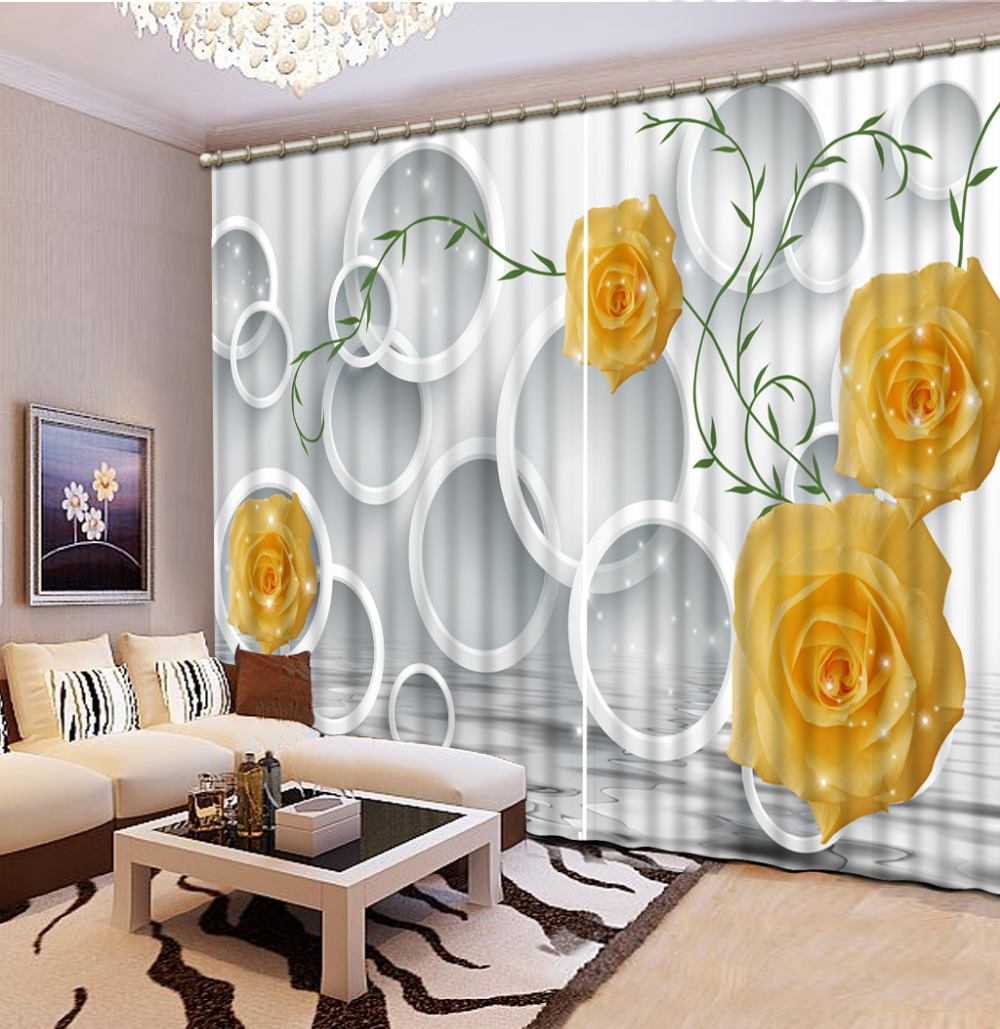 Custom Luxury Living Room Curtains Yellow Rose Circle Curtains Blackout 3d Curtains  For Dining Room Window