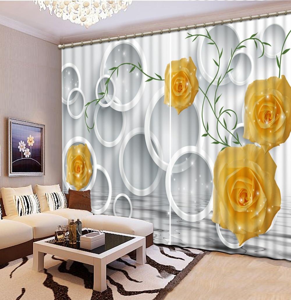 Custom luxury living room curtains yellow rose circle ... on Farmhouse:-Cra1Rtrksu= Dining Room Curtains  id=50656