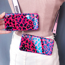 leopard strap tpu case for iphone 8 7 6s 6 plus X XR XS MAX cover blue ray shoulder lanyard soft silicon phone bag capa
