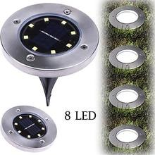 IP65 Waterproof 8 LED Solar Outdoor Ground Lamp Landscape Lawn Yard Stair Underground Buried Night Light Home Garden Decoration