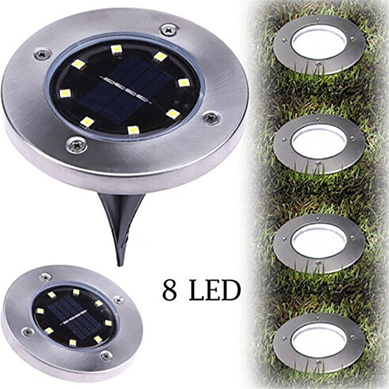 IP65 Waterproof 8 LED Solar Outdoor Ground Lamp Landscape Lawn Yard Stair Underground Buried Night Light Home Garden Decoration