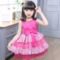 Girl Dress Summer 2017 New Cute Sleeveless Dress Bow  Flower Princess Dresses Girls Clothes Elegant