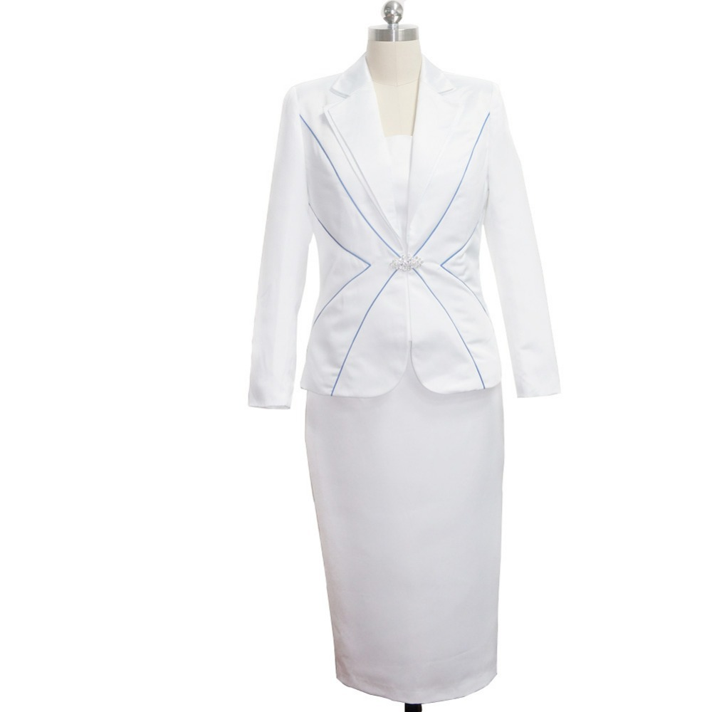 June Syoung Fashion Lady Church Suits Classical White Blue Color
