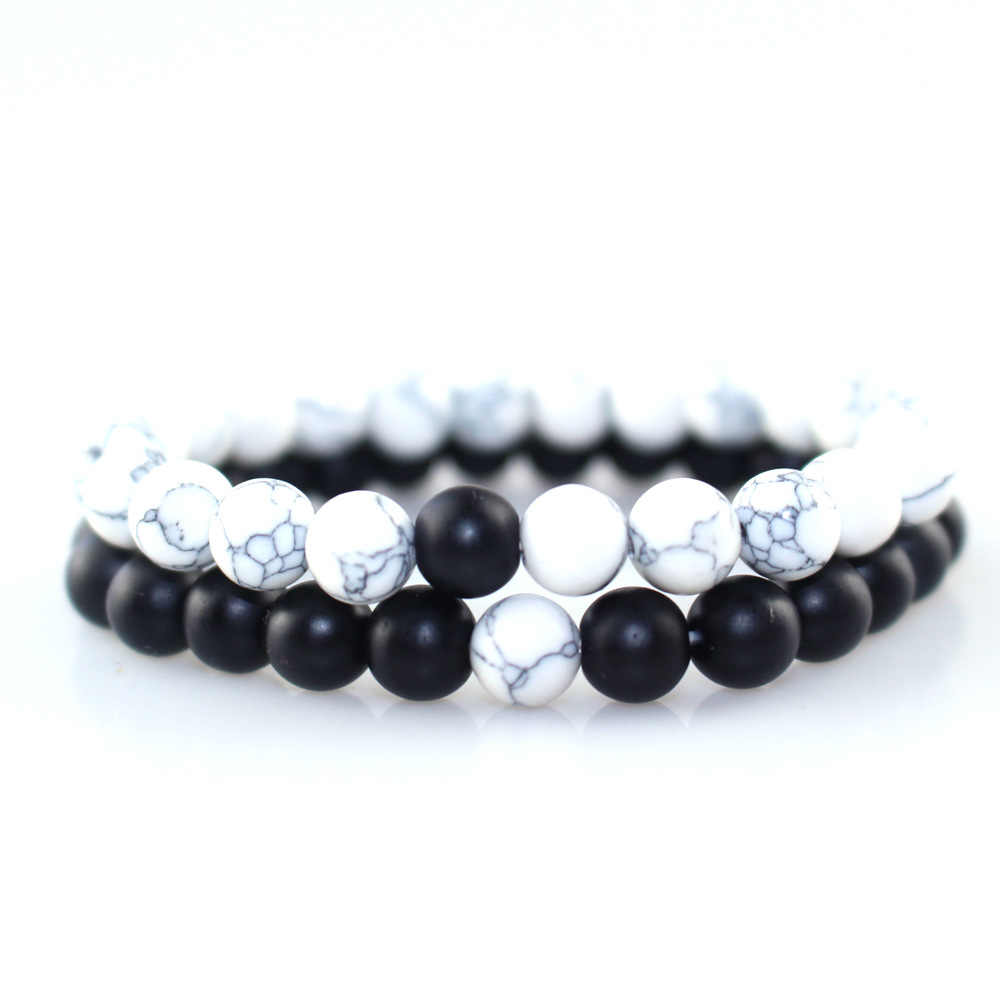 2019 White and Black Yin Yang Beaded Bracelets for Men Women Best Friend Hot Couples Distance Bracelet Classic Natural Stone