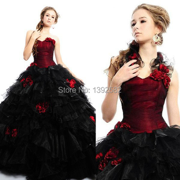 a31e40ce83 Black and Red Quinceanera Dresses Halter Ball Gown Long Tulle Ruffled  Vestidos De 15 Anos Verde