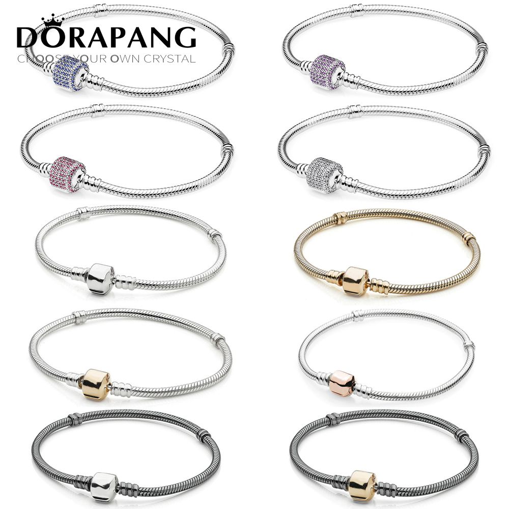 DORAPANG 100% 925 Sterling Silver Classic head bracelet Clear CZ Charm Bead fit pendant DIY Bracelets The factory wholesale 925 sterling silver cz by the yard anklet bracelet 10