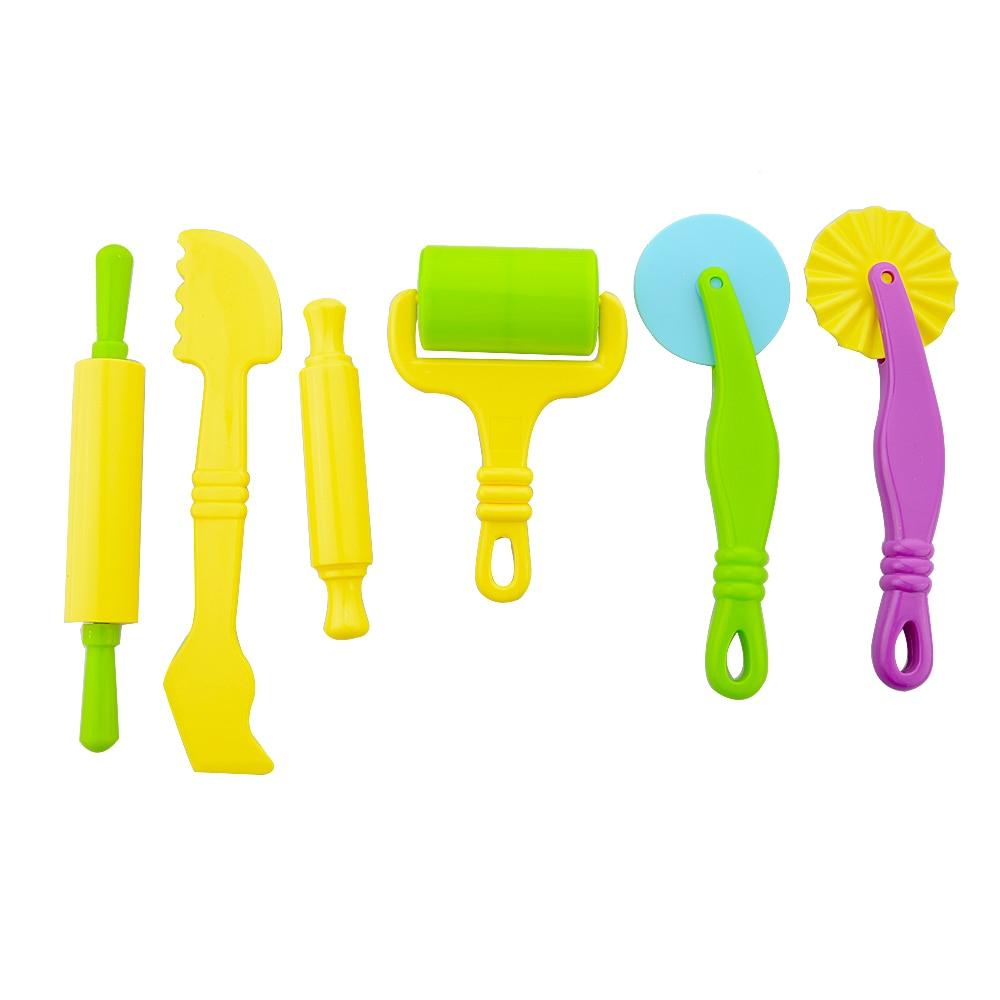 6vnt / rinkinys Vaikai Vaikai Žaisti tešlos modelį Įrankių žaislai Plastikiniai 3D įrankiai Playdough Set Skulptūros modeliavimo įrankiai vaikams Dovanos