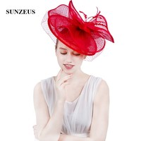 Hot Red Linen Bridal Hats 2018 Fashionable Women's Hat with Face Veil Ivory/Black Fascinators Women's Party Hats SH59