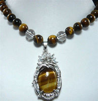 Jewelr 004124 beyaz inci doğal tiger göz taş kolye + kolye seçebilirsiniz