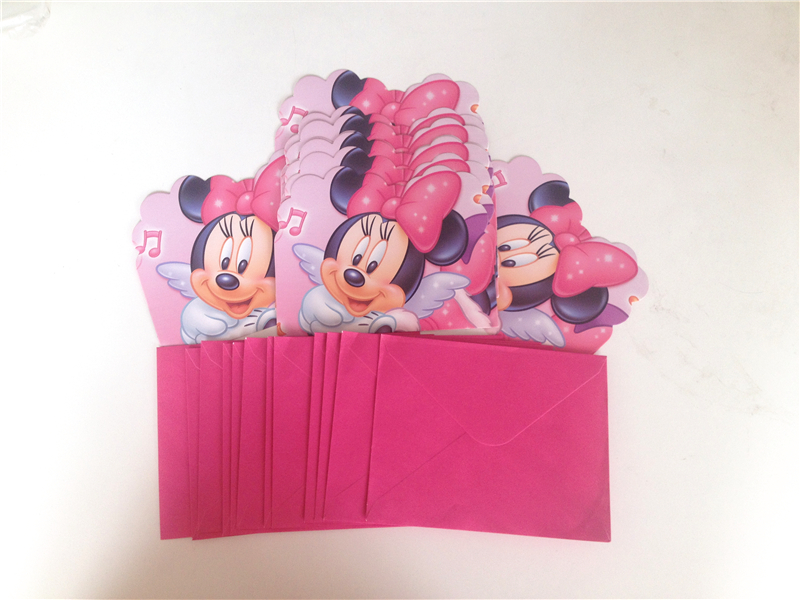 12pc Lot Cartoon Minnie Mouse Party Supplies Childrens Birthday Decorations And Cute Invitations 29