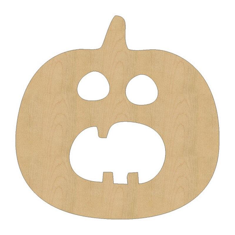 10pcs Laser Cut Wood Wooden Panic Pumpkin Shape DIY Craft Gift Tag Happy Halloween Decorations
