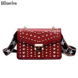 Diinovivo Брендовые женские сумки роскошные сумки женские сумки-мессенджеры с заклепками модная сумка через плечо женская сумка из