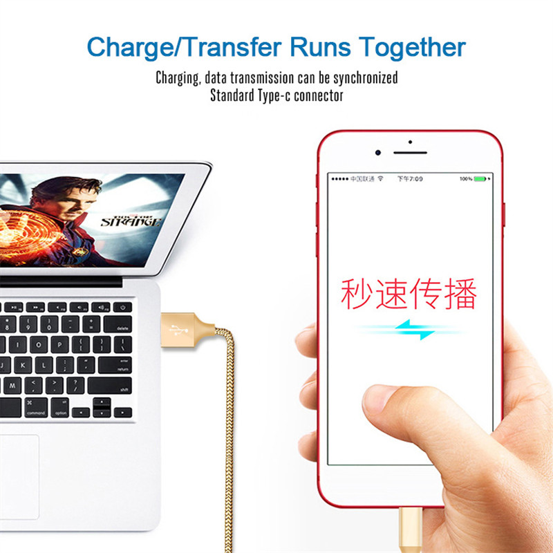 USB Cable 2A Fast Charging Nylon Type C Sync Data Mobile Phone Android micro usb cable Adapter Charger Cable For iPhone 5 Cable in Mobile Phone Chargers from Cellphones Telecommunications