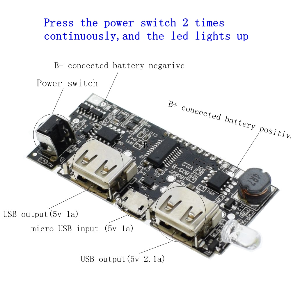 Dual Usb 18650 Battery Charger Pcb Power Module 5v 1a 21a Mobile Circuit Boardportable For Phonesmobile Phone Intelligent Output Device After Charging Full Automatically Stop To Prevent Phones Overcharge