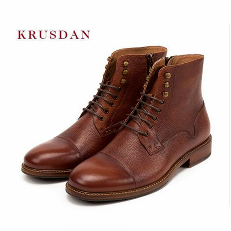 KRUSDAN New Fashion Winter Snow Martin Men Boots Brown Genuine Leather Ankle Boots High Top Shoes Men Retro Zip Motorcycle Flats 2016 new arrival men winter martin ankle boots pu leather high quality fashion high top shoes snow timbe bota hot sale flat heel