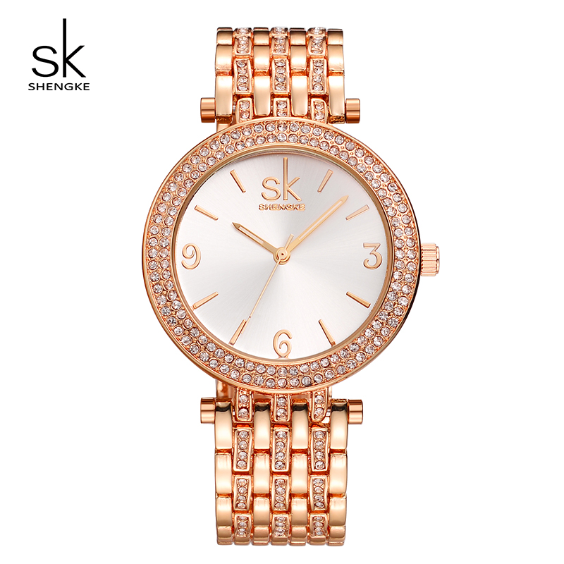 SK Watch Women Luxury Crystal Rose Gold Bracelet Clock Women Quartz Watches Wrist Watch Waterproof Relogio Feminino 2017 #K0011 vince camuto women s vc 5186chgb swarovski crystal accented gold tone multi function bracelet watch