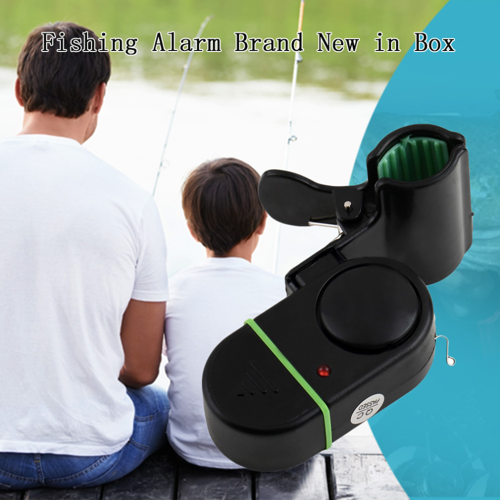 1 pc LED Light Electronic Fish Bite Strike Sound Alarm Bell Alert Clip-On Fishing Rod Pole Tool Black